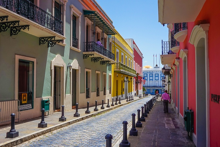 The historic center of Puerto Rico has Spanish architectural influences.